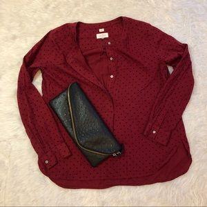LOFT Sz. S (can fit S-L) polka dot blouse